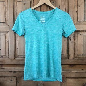 🎁 Nike Small Dri-Fit V-Neck Green Stripe Shirt